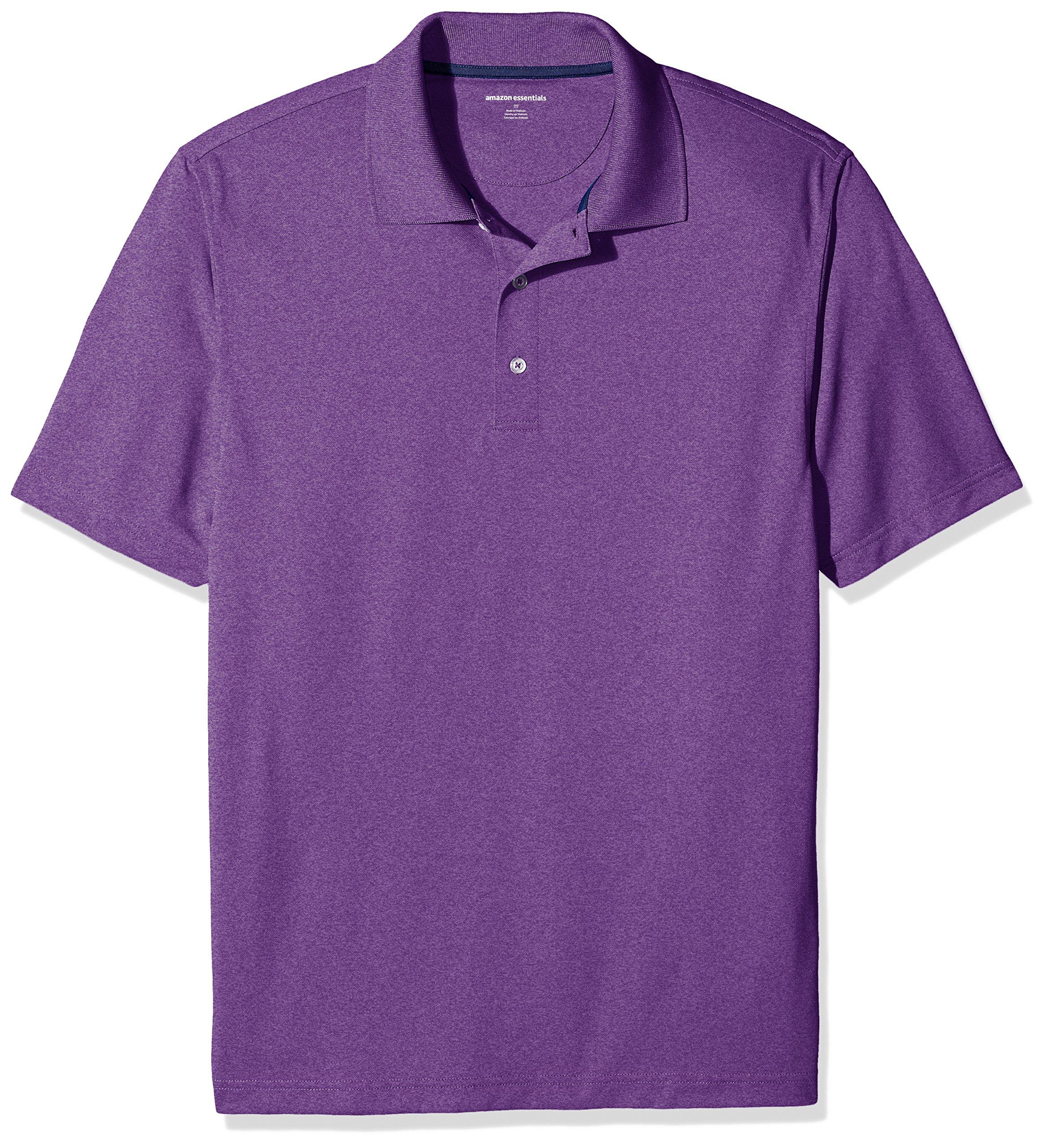 Amazon Essentials Men's Regular-Fit Quick-Dry Golf Polo Shirt, Purple Heather, Small by Amazon Essentials