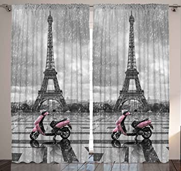 Grey Curtains Eiffel Tower Decor By Ambesonne, Paris Scene Gray And Pink  Monochrome Bedroom Decor