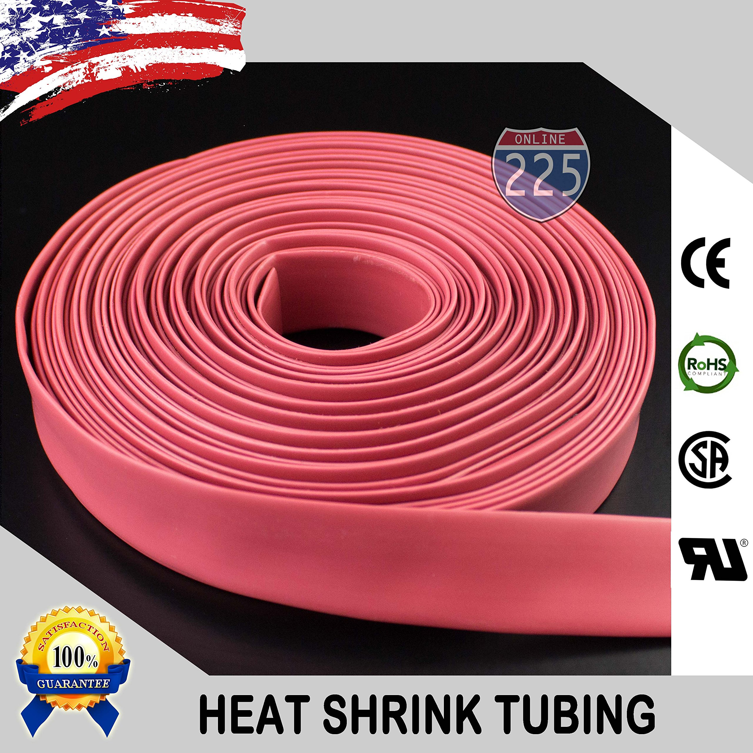 100 FT 1'' 25mm Polyolefin Red Heat Shrink Tubing 2:1 Ratio