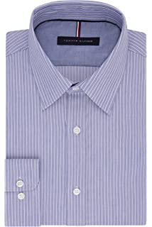 94e2a4951 Tommy Hilfiger Men's Non Iron Slim Fit Banker Stripe Point Collar Dress  Shirt