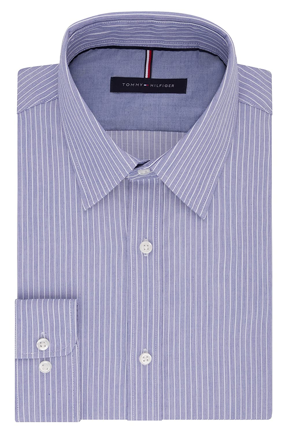 Tommy Hilfiger Mens Non Iron Slim Fit Banker Stripe Point Collar Dress Shirt 24N0920