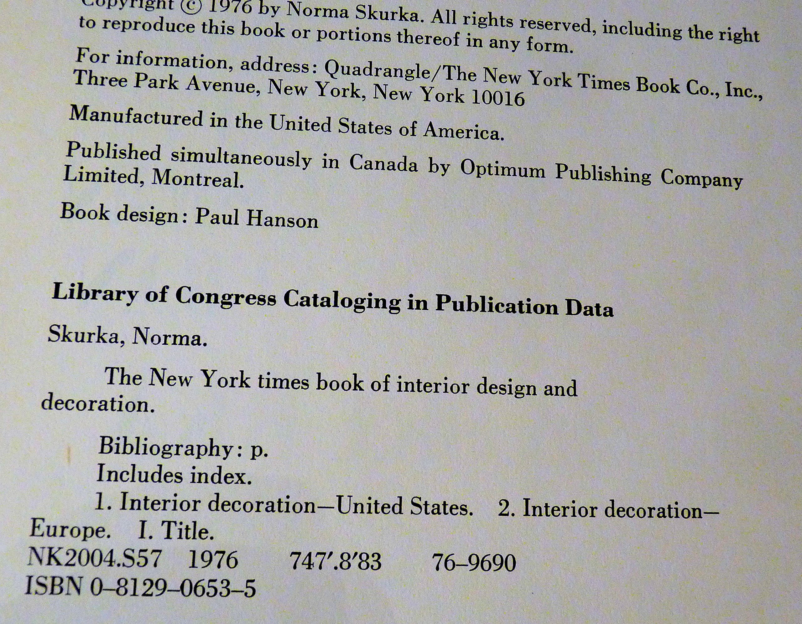 The New York Times Book Of Interior Design And Decoration Skurka Norma Amazon Books