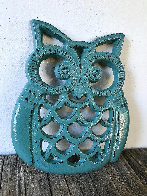 Vintage Teal Heavy Duty Cast Iron Owl Kitchen Trivet – Rustic Woodland Animal Decor – Unique Housewarming Gift