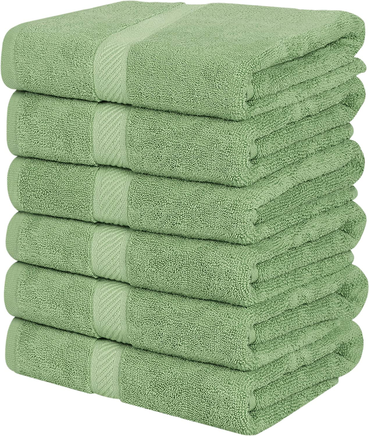 Utopia Towels Medium Cotton Towels, Sage Green, 24 x 48 Inches Towels for Pool, Spa, and Gym Lightweight and Highly Absorbent Quick Drying Towels, (Pack of 6)
