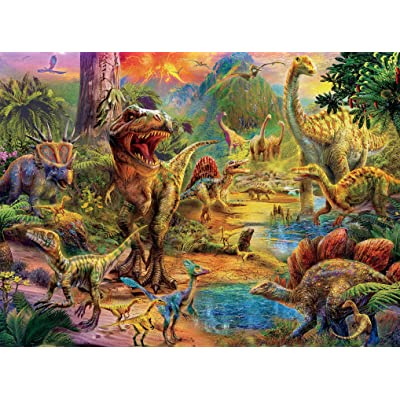 Ceaco Dino Glow in The Dark Dino Landscape Puzzle - 100Piece: Toys & Games