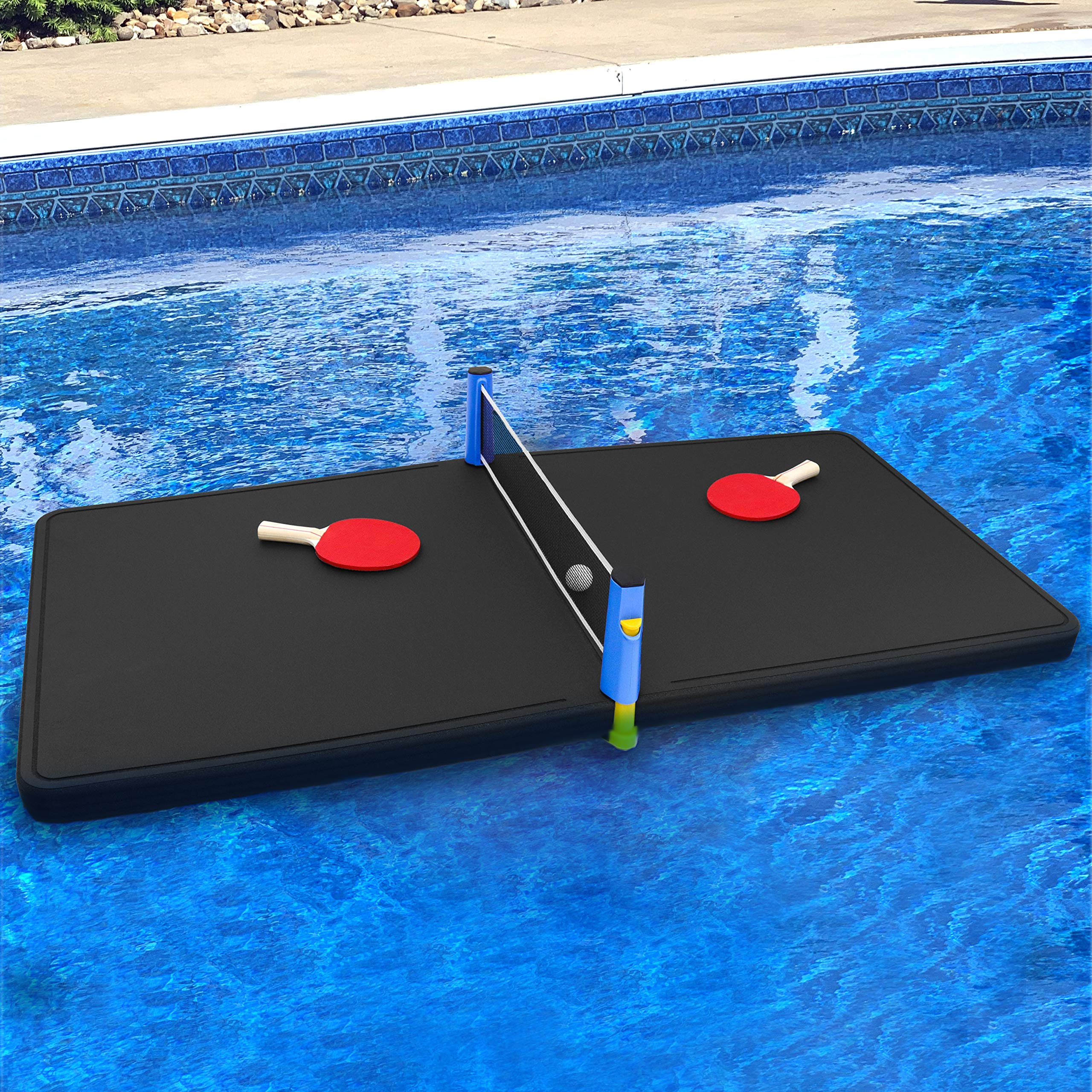 Polar Whale Floating Ping Pong Table Pool Party Table Tennis Float Game Durable Black Foam 5 Feet Long Uv Resistant Includes Net Paddles and Balls Made in USA by Polar Whale