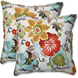 """Pillow Perfect Outdoor/Indoor Alatriste Ivory Throw Pillows, 18.5"""" x 18.5"""", Floral, 2 Count"""