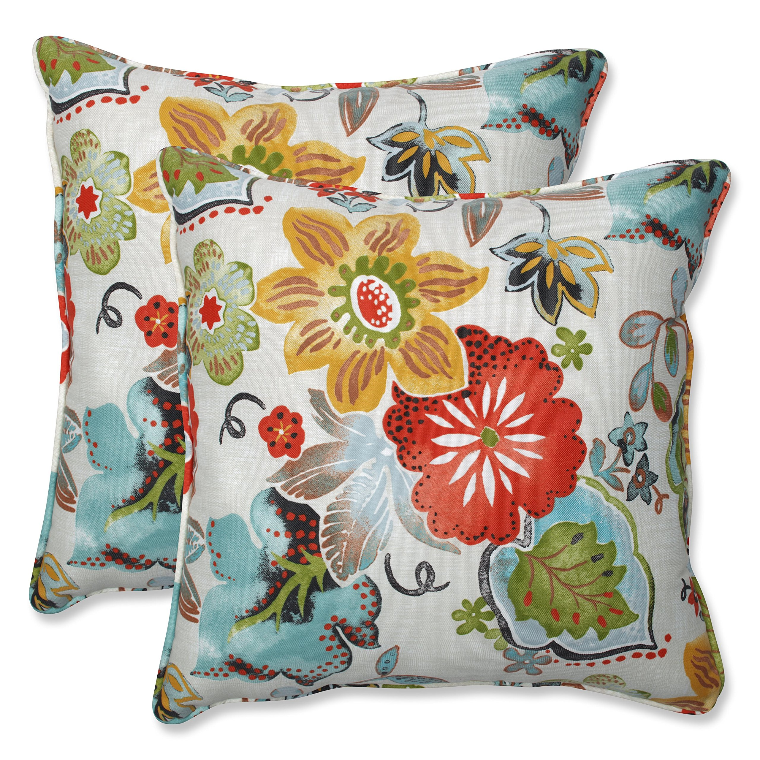 Pillow Perfect Outdoor | Indoor Alatriste Ivory 18.5-inch Throw Pillow (Set of 2), 2 Piece