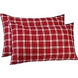 Pinzon 160 Gram Plaid Flannel Pillowcases - Standard, Bordeaux Plaid - PZ-PLFLAN-BOP-SPC