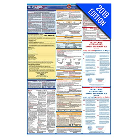 2019 Maryland Labor Law Poster – State, Federal, OSHA Compliant – Laminated  Mandatory All in One Poster