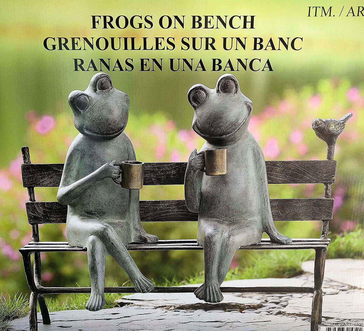 Excellent Frogs On A Bench Drinking With A Bird Outdoor Decor Extra Large 22 Long X 18 9 Tall Ocoug Best Dining Table And Chair Ideas Images Ocougorg