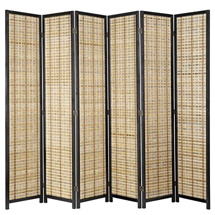 4ed6c9046dd Image Unavailable. Image not available for. Color  MyGift Freestanding 6-Panel  Bamboo   Black Wood Framed Folding Room Divider Screen