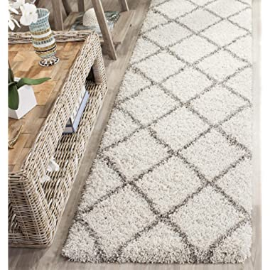 Safavieh Hudson Shag Collection SGH281A Ivory and Grey Moroccan Diamond Trellis Runner (2'3  x 8')