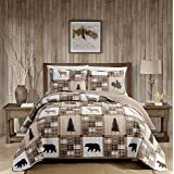 Rustic Modern Farmhouse Cabin Lodge Quilted Bedspread Coverlet Bedding Set with Patchwork of Wildlife Grizzly Bears Deer Buck