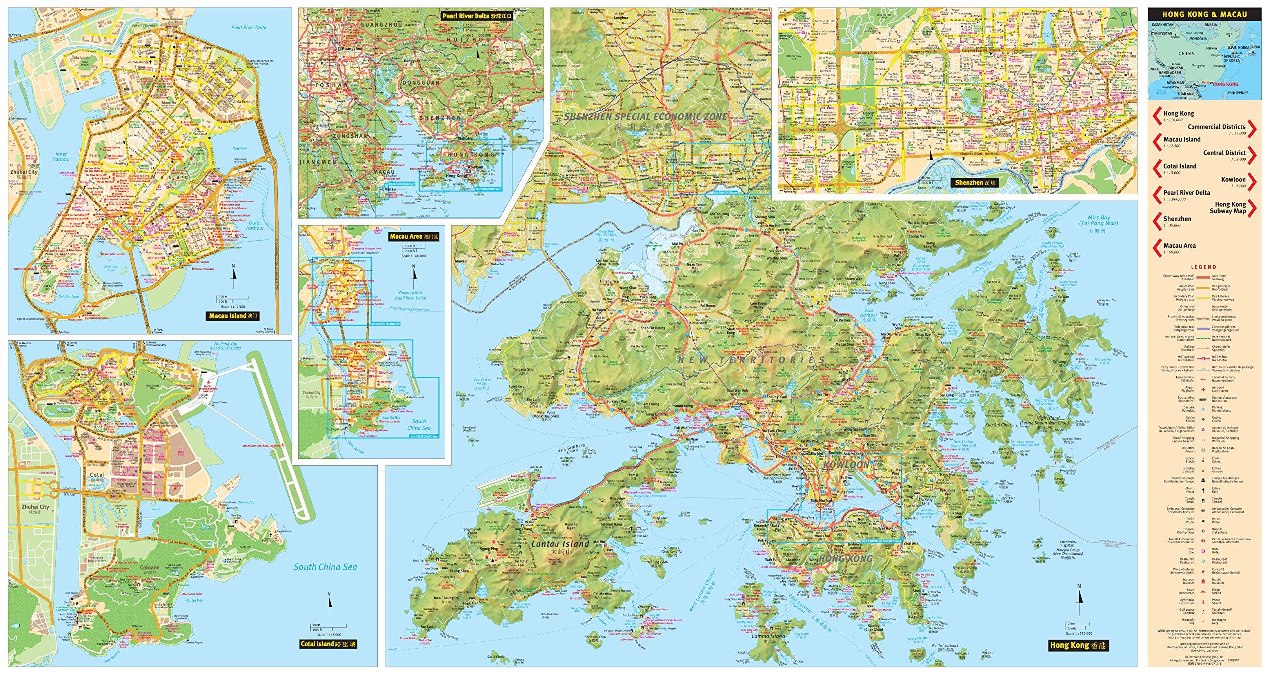 Hong kong macau travel map sixth edition tuttle travel maps hong kong macau travel map sixth edition tuttle travel maps periplus editions 9780794607111 amazon books gumiabroncs Images