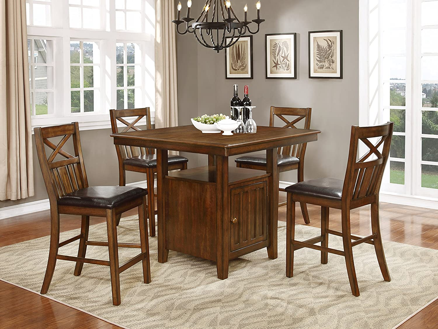 NHI Express 61160 Bryson Solid Wood Counter Height Table with Storage and  Chairs, Brown