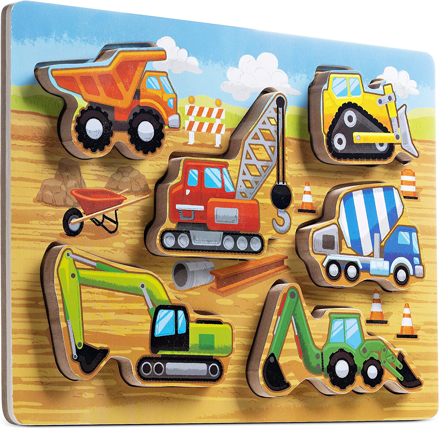 6 Piece/Chunky Puzzle Educational Learning Fun Toy for Babys and Toddlers Wooden Construction Style Puzzle