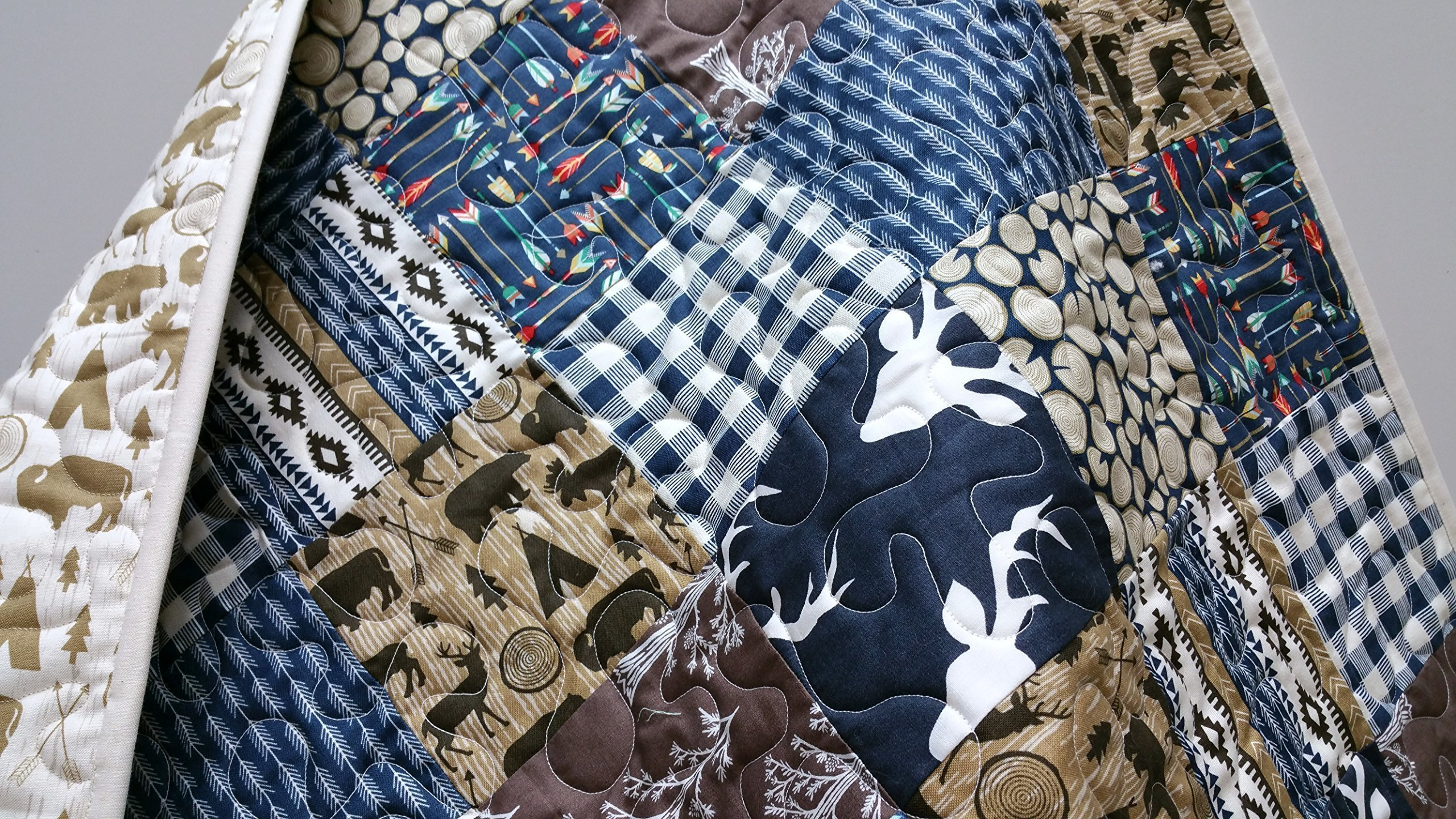 Rustic Baby Boy Quilt - Mix - Woodland, Lumberjack, Navajo, Tribal, Southwest, in Navy and Brown