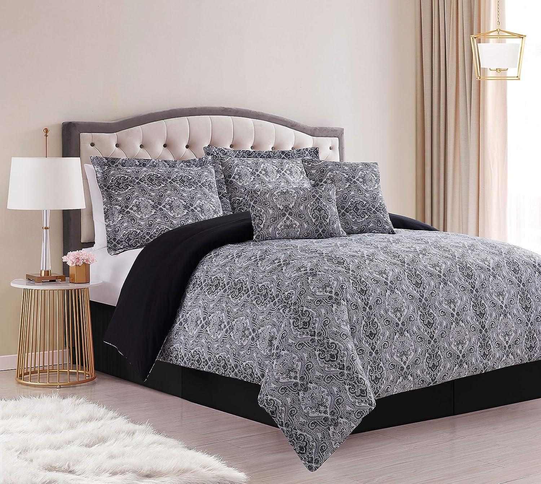 SL Spirit Linen Home EST. 1988 Paisley Collection Comforter Set - Oversized Reversible Bedding, Wrinkle Resistant & Pre - Washed for Extra Softness, King, Black
