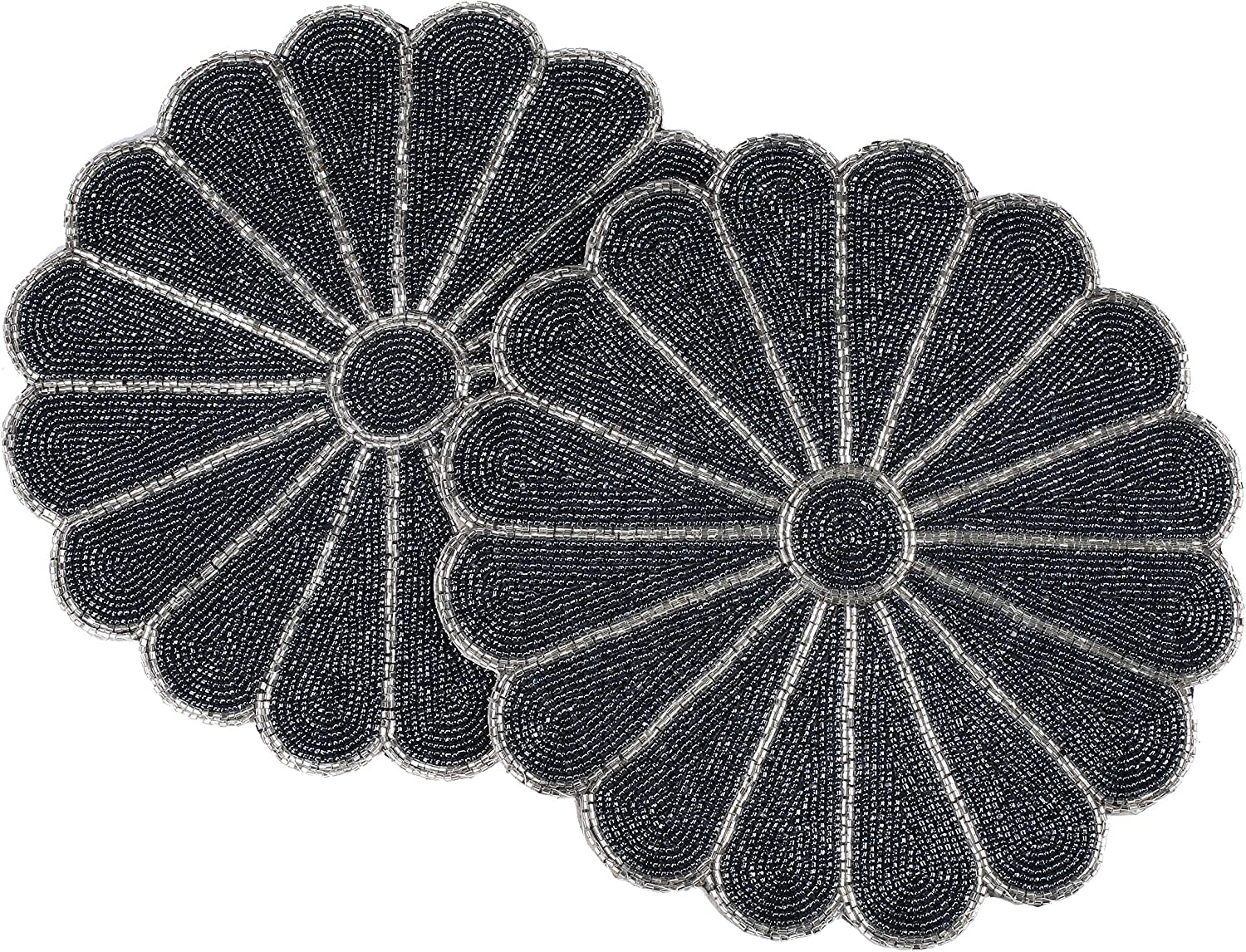Alpha Living Home Beaded Scallop Placemats for Dining Table - Pack of 2 Measure 13 inches Beaded Placemats Round for Gathering, Occasional Decoration and Family Parties Celebrations - Navy/Silver