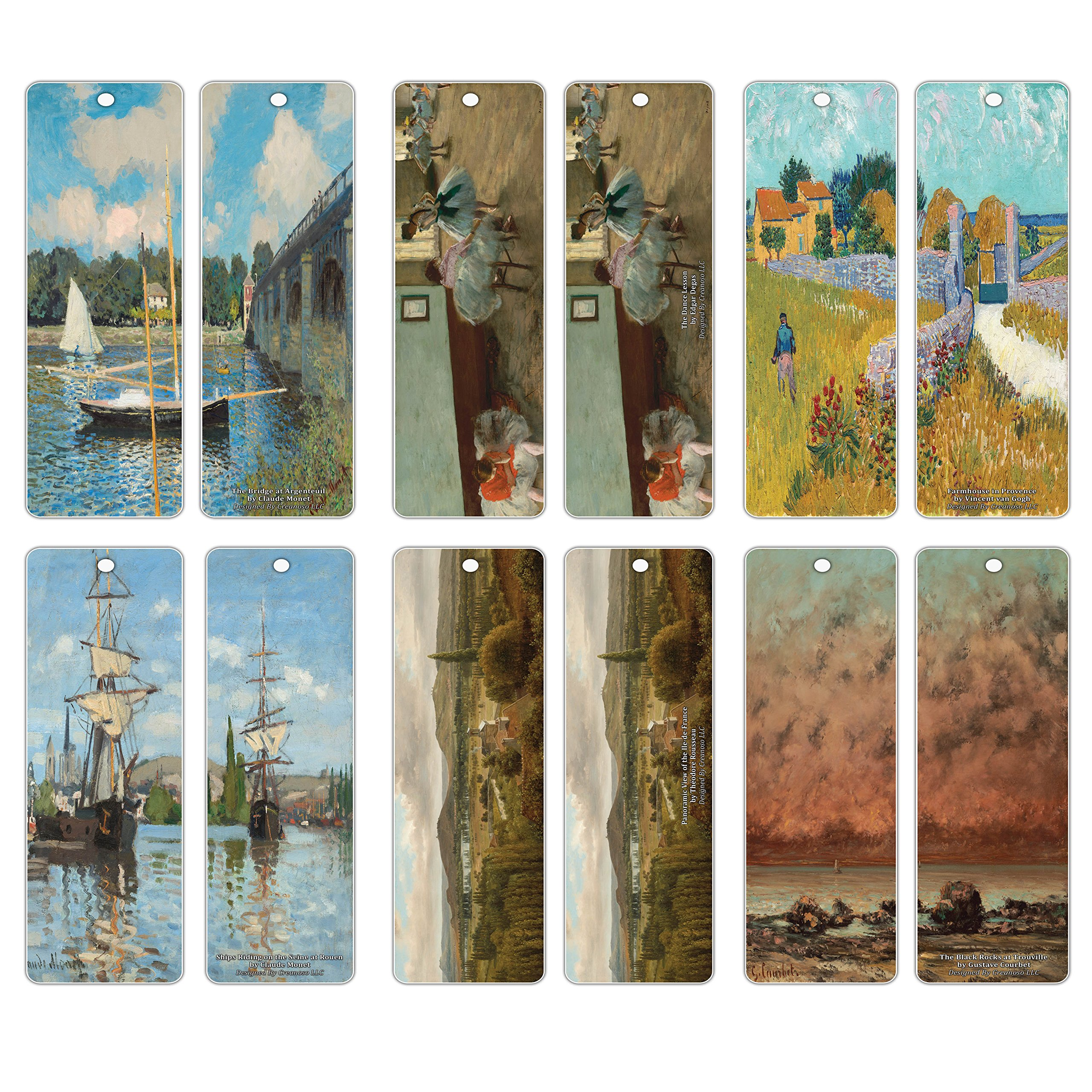 Creanoso Famous Classic Art Series 4 Bookmarks (60-Pack) – Inspiring Artistic Art Set Collection for Book Readers - Great Art Reading Collection Pack for Men, Women, Teens, Artists, Painters
