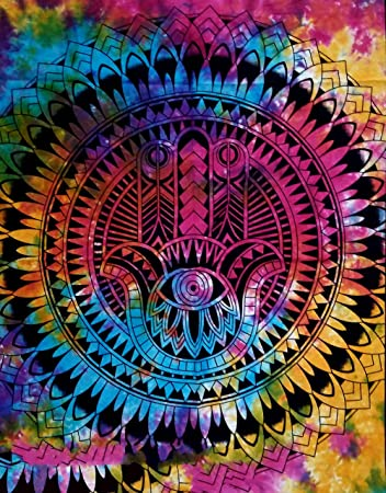 6986b71a304a Buy Harsh House Fashions Bohemian Psychedelic Tie Dye Good Luck Hamsa  Fatima Hand Printed Tapestry Wall Hanging Decoration (Multi Colour