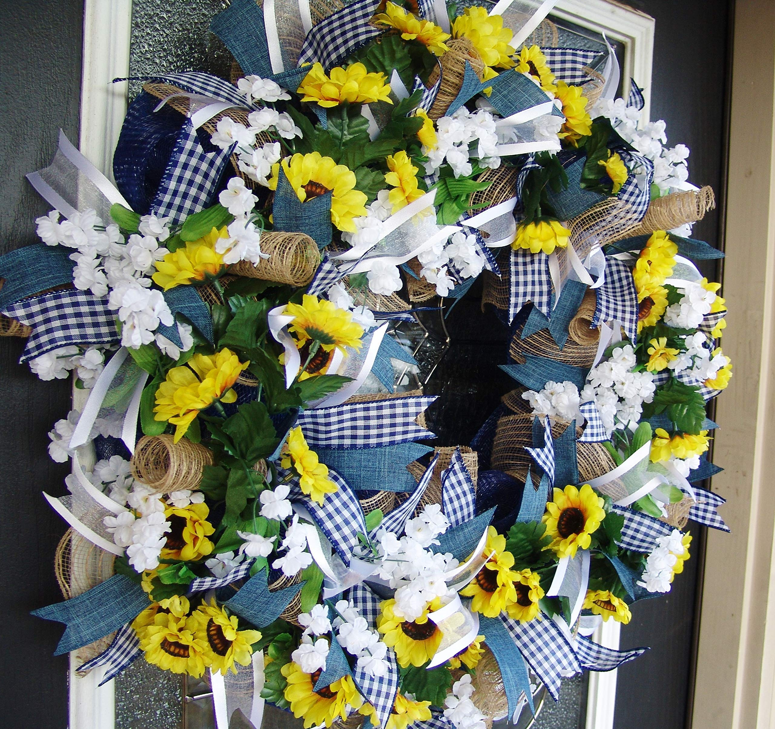 Country Blue Sunflower Wreath Decor Fall Spring Summer Front Door Burlap Wedding Farmhouse Decor French Country Decor Silk Flower