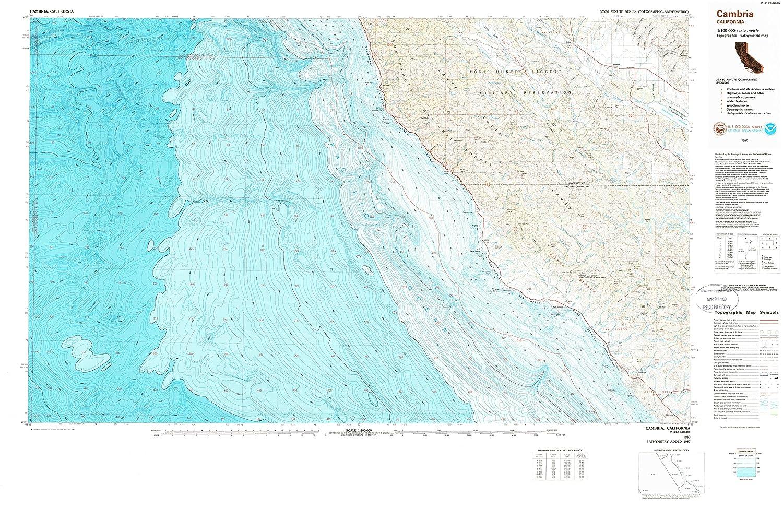 Amazon.com : YellowMaps Cambria CA topo map, 1:100000 Scale, 30 X 60 on