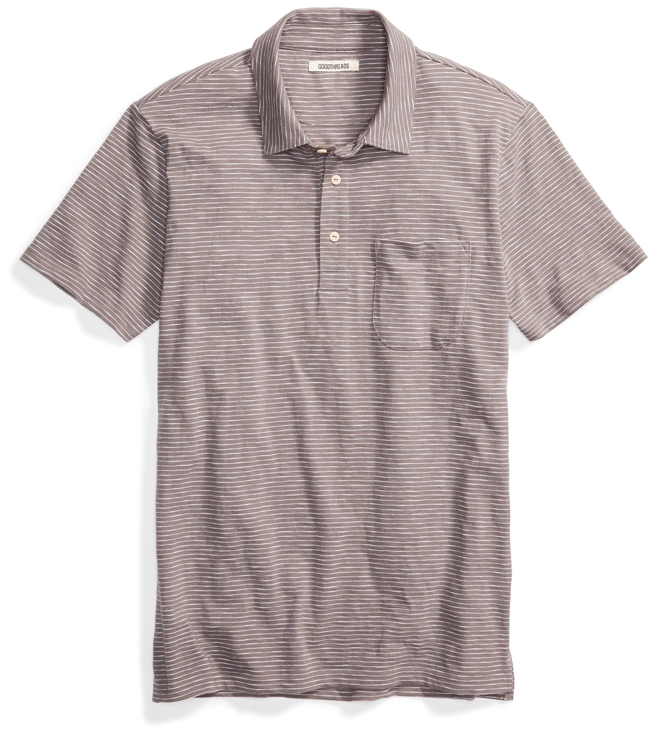 Goodthreads Men's Short-Sleeve Striped Slub Polo, Castle Rock/Grey/White Stripe, Large