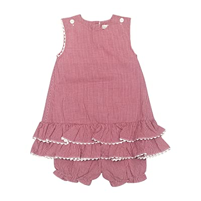 15d95cf85494 Petit Ami Baby Infant Girls Red & White Checked Sleeveless Eyelet Trim  Sleeve Dress with Matching