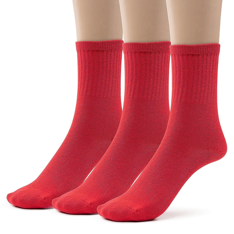 Boys 3 Pack Cotton Crew Dress Socks, School Uniform Colors