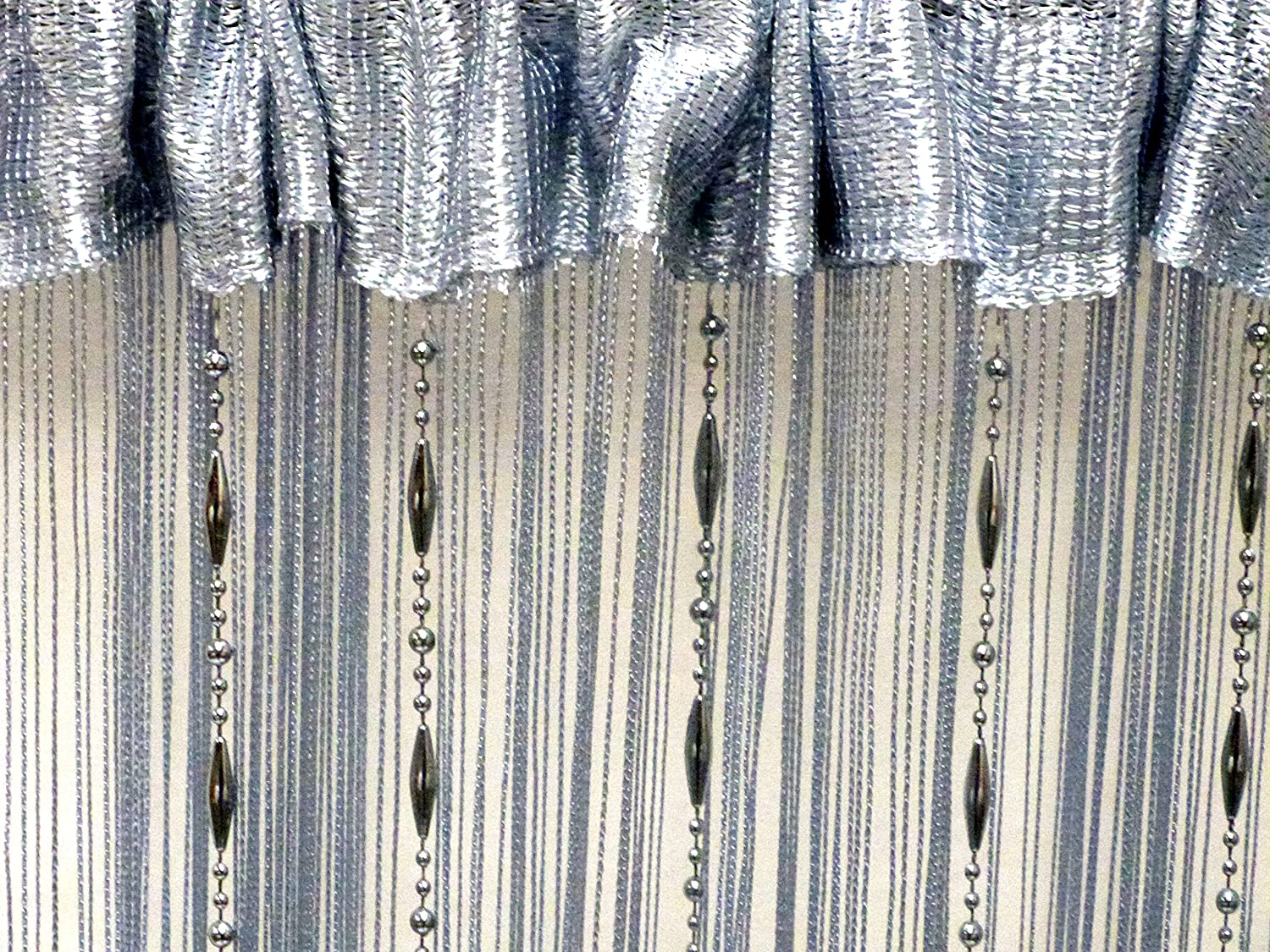 STRING CURTAINS BLINDS FLY SCREEN PATIO DOOR DIVIDER DOOR WINDOW FRINGE CURTAINS (Chain Bead Silver)
