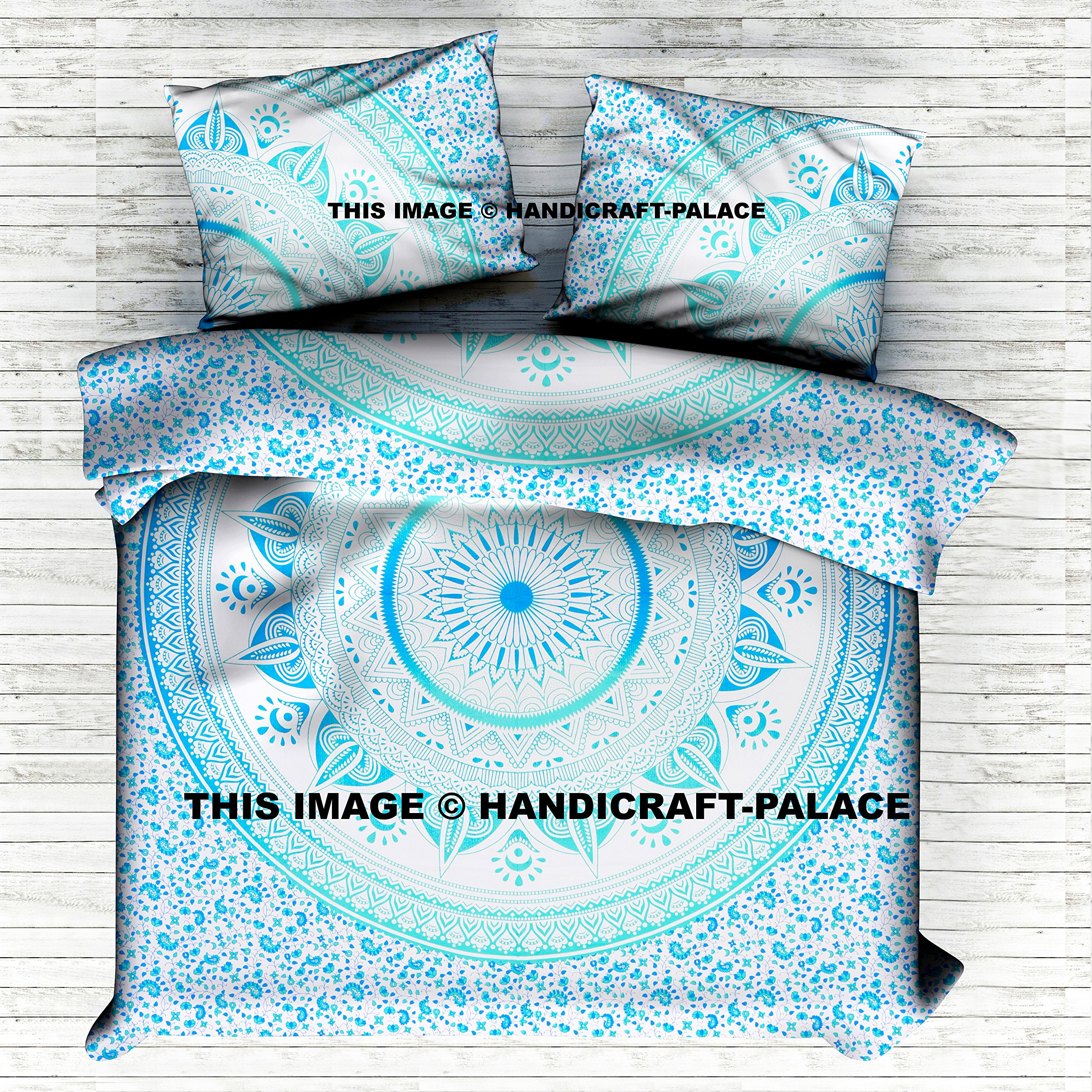 Indian Ombre Mandala Queen Size Comforter Hippie Boho Cotton Doona Duvet Cover Ethnic Queen Tapestry Duvet Cover Hippie By Handicraft-Palace