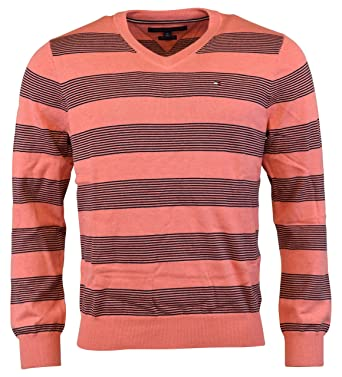 c2ddf1e29e4a46 Tommy Hilfiger Striped Mens Large V-Neck Sweater at Amazon Men s Clothing  store
