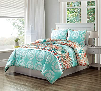 GrandLinen 3 Piece Turquoise Blue/Orange/White Scroll Embroidery, Pleated  Bed In A Bag Down Alternative Comforter Set QUEEN Size Bedding. Perfect For  ...