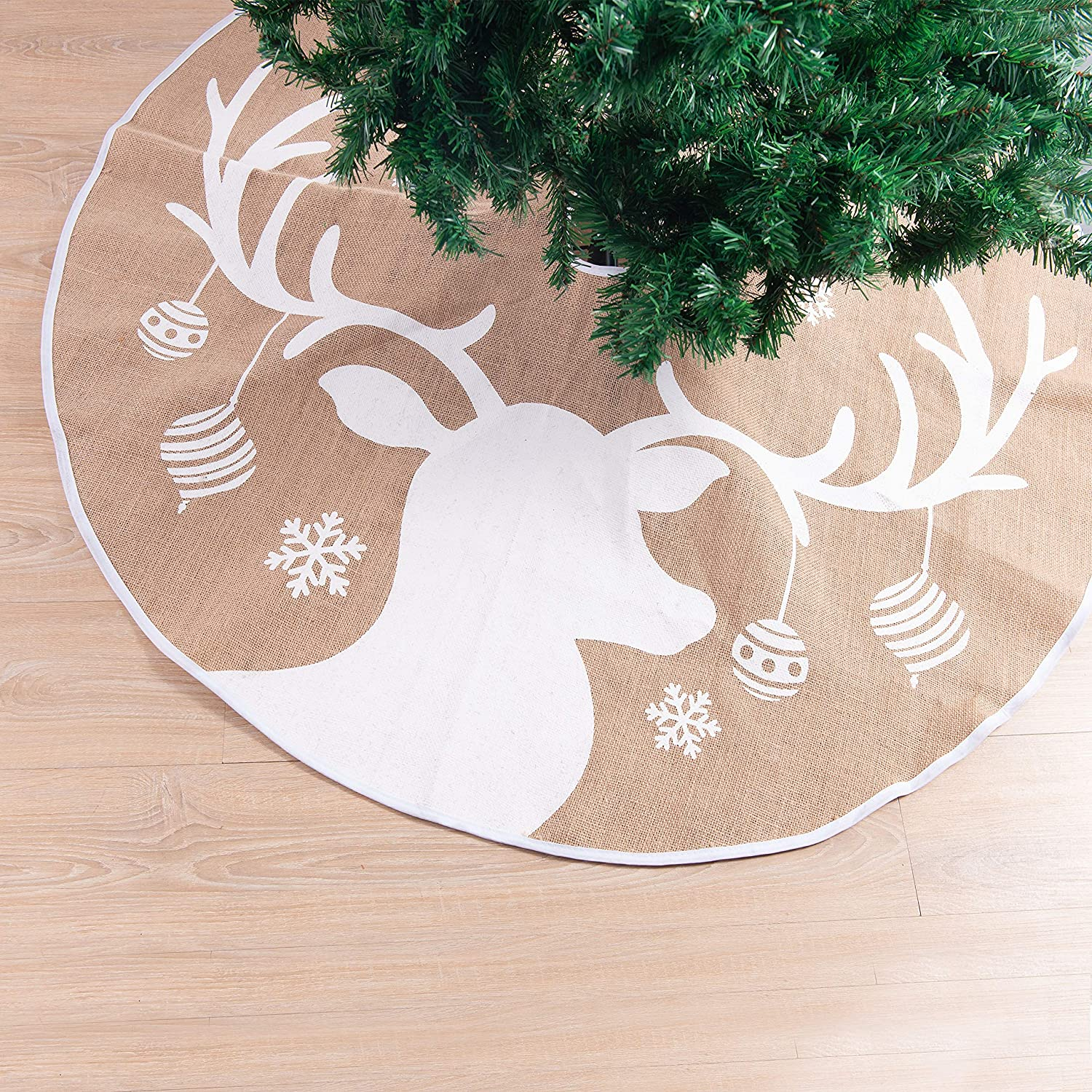 Joiedomi Christmas Tree Skirt with Reindeer Pattern, 48