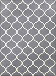 Maples Rugs Rebecca Contemporary Area Rugs for Living Room & Bedroom [Made in USA], 5 x 7, Grey/White