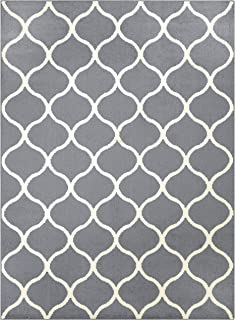 product image for Maples Rugs Rebecca Contemporary Area Rugs for Living Room & Bedroom [Made in USA], 5 x 7, Grey/White