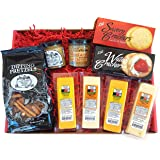 Mancave Cheese & Pretzels Gift Basket- features 100% Wisconsin Cheeses, Crackers, Pretzels & Mustard | Great for tailgating