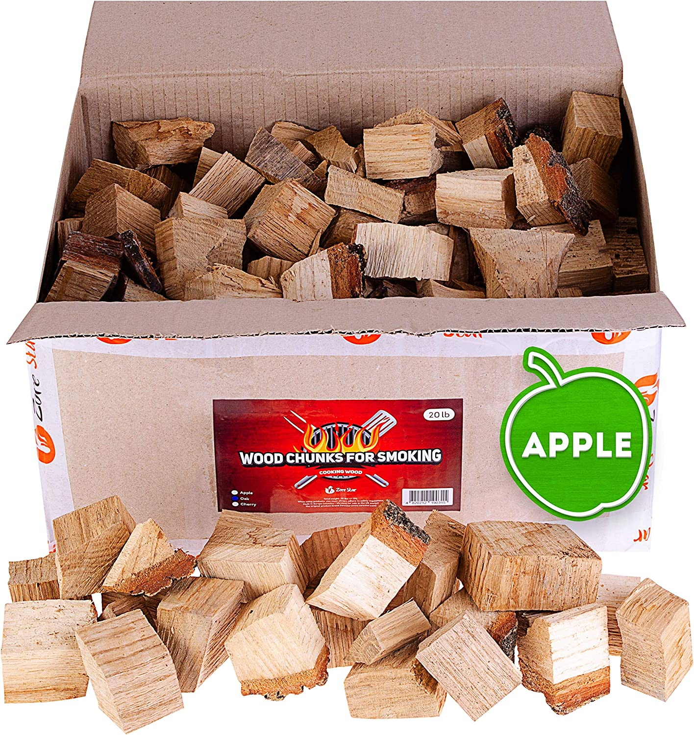 Zorestar Apple Wood Chunks for Smokers - 15 lb
