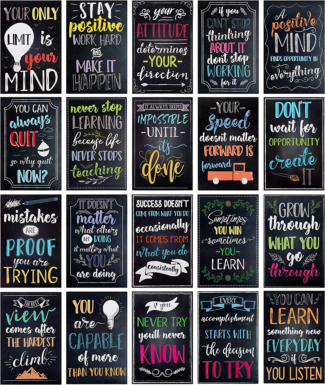 Juvale 20-Pack Motivational & Inspirational Quotes Posters for Teachers, Classroom & Office, 13 x 19 Inches