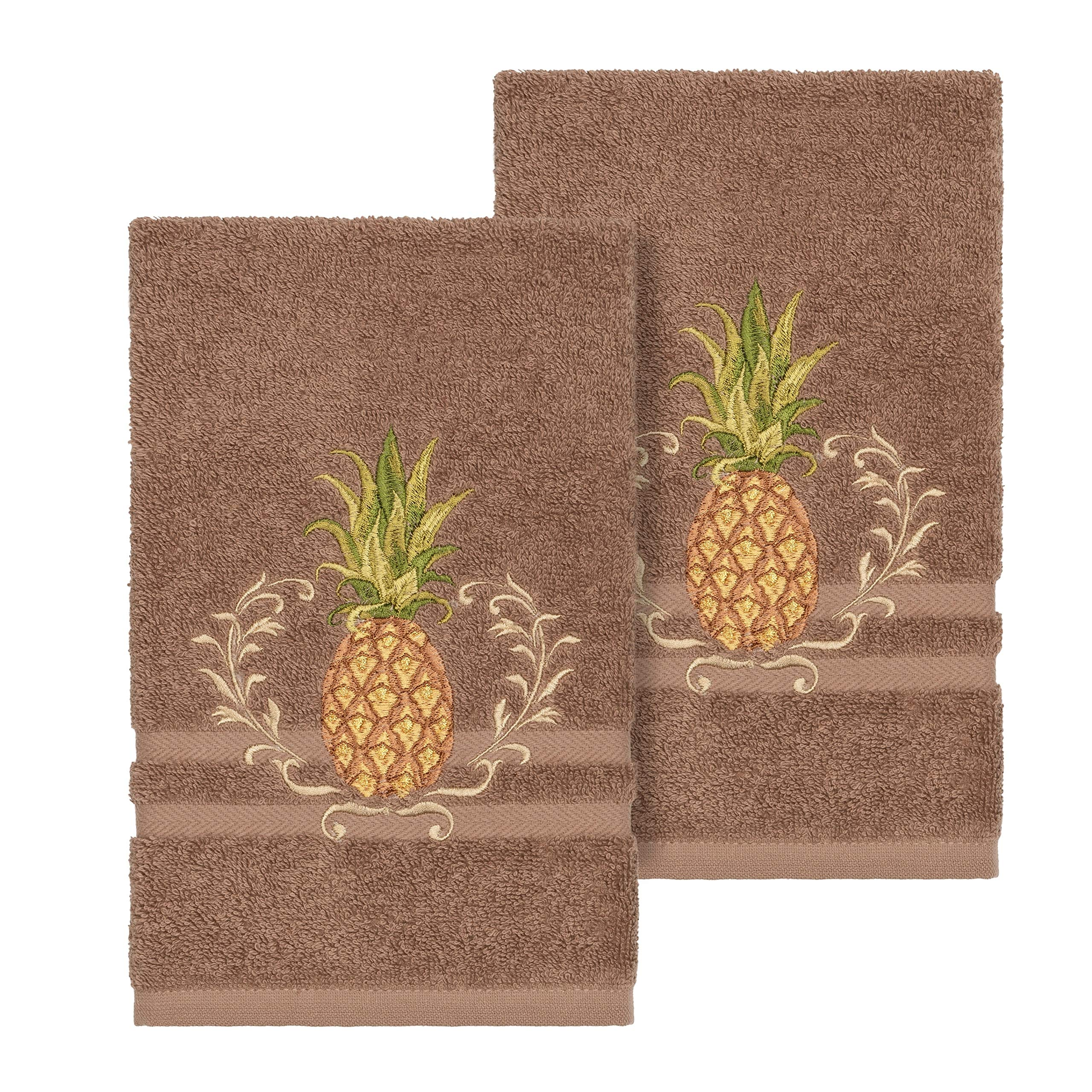 Overstock Authentic Hotel and Spa Turkish Cotton Pineapple Embroidered Latte Brown 2-Piece Towel Hand Set