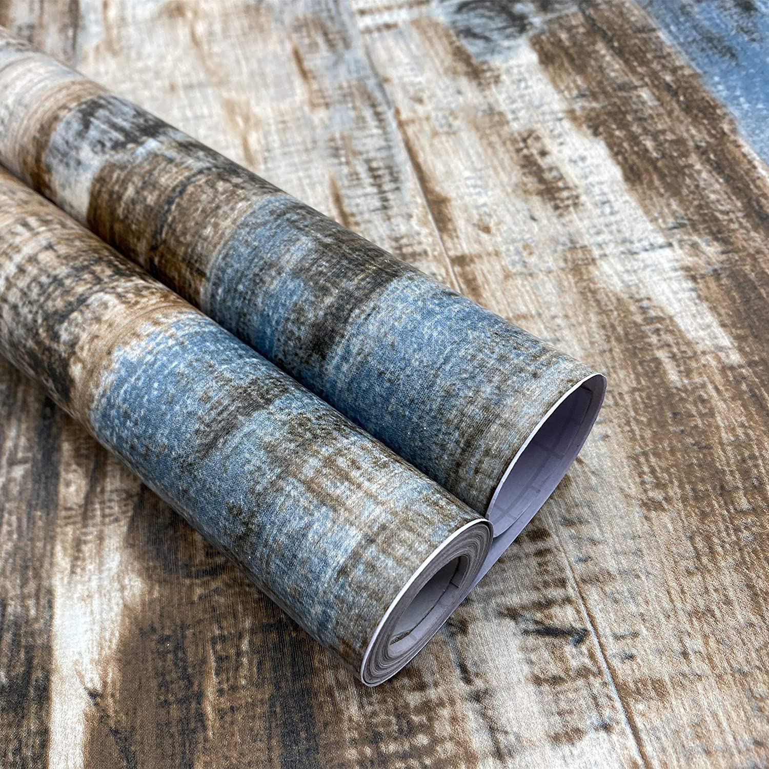 17.71'' x 236'' Peel and Stick Wood Wallpaper Removable Distressed Wood Contact Paper Self-Adhesive Wallpaper Retro Wood Plank Wall Covering Decoration Kitchen Countertop Furniture DIY