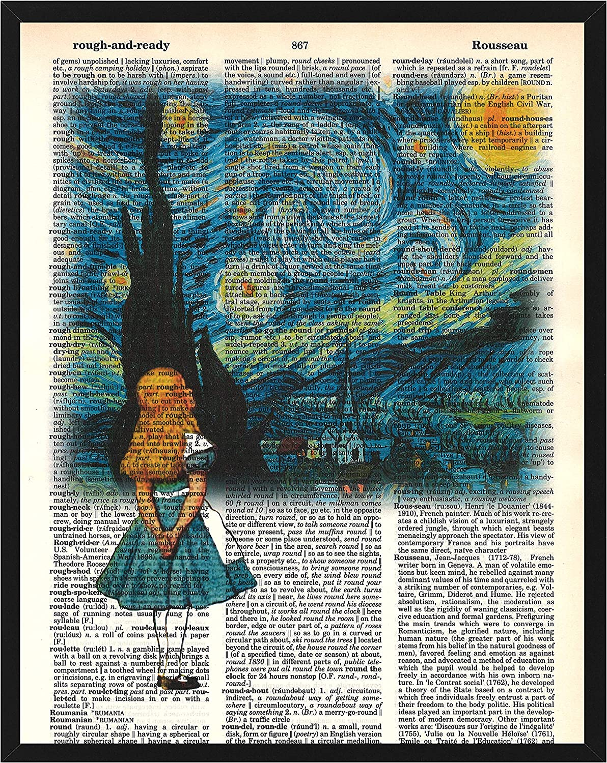 Signature Studios Alice in Wonderland Wall Decor Alice in Van Gogh's Starry Night Alice in Wonderland Dictionary Art Print Mixed Media Print 8x10