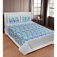 Super India 100% Cotton Floral Double Bed Sheet with two pillow covers
