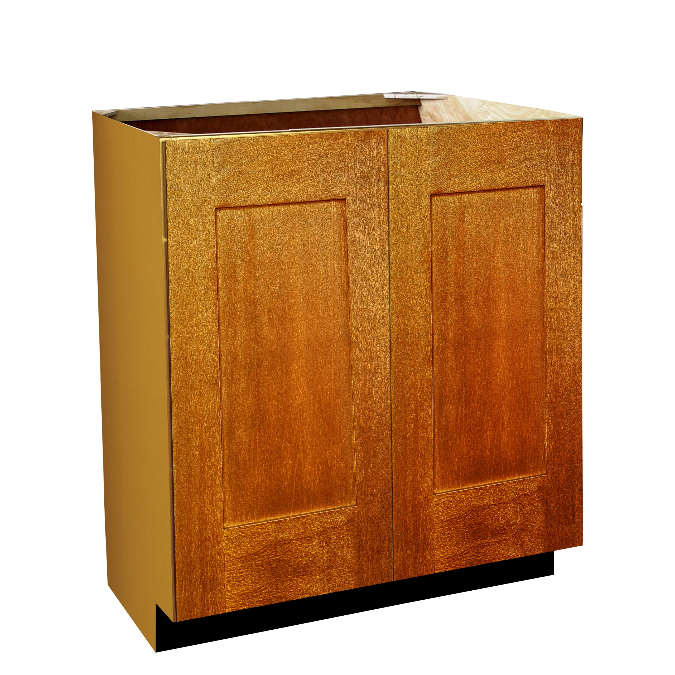 Shaker Panel Door Style Vanity Sink Base with Full Height Doors 24'' Wide 18'' Deep 30'' High in a Maple Spice Finish Model VSBFH241830-SS by Harbor City Millwork