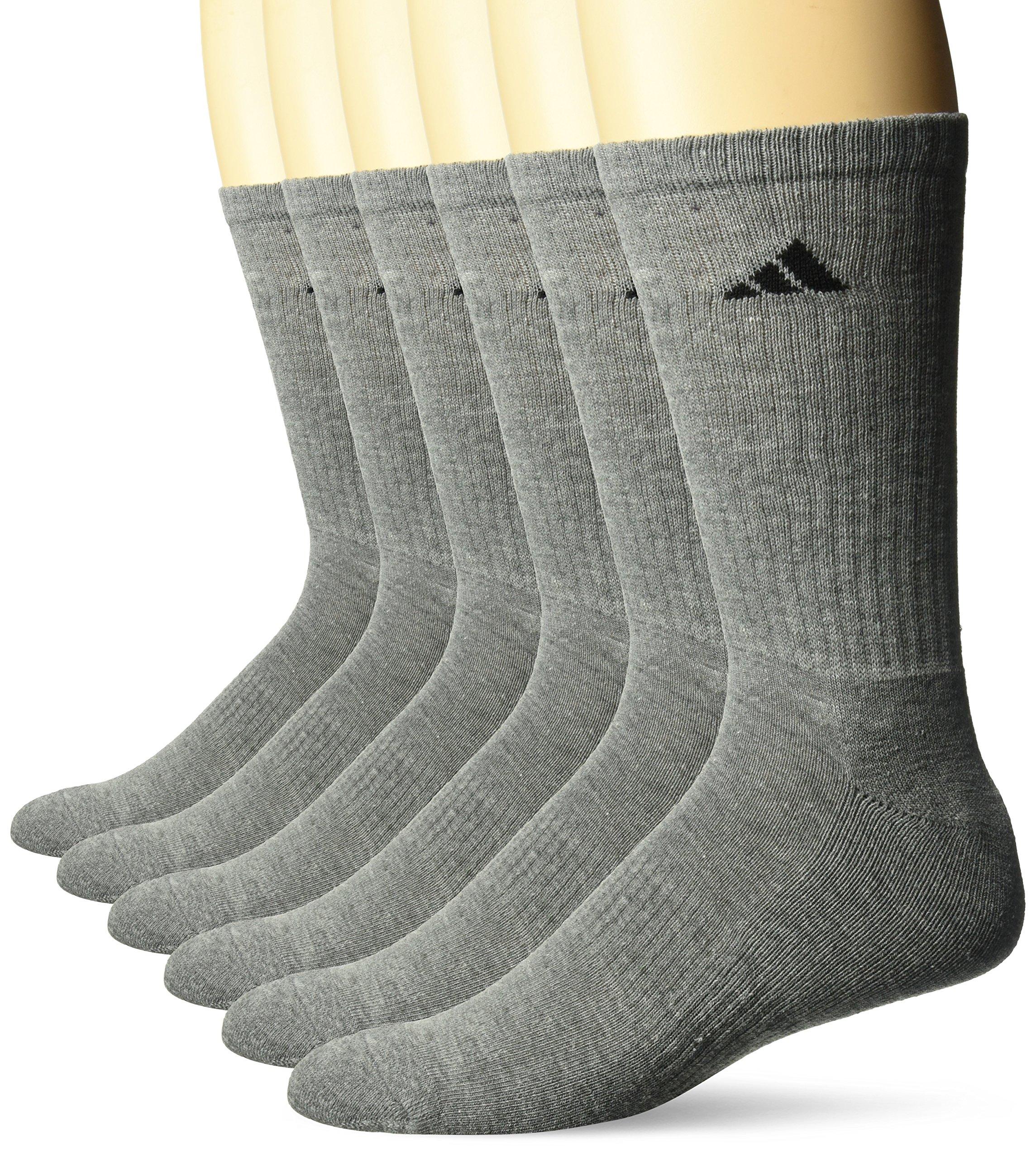 adidas Men's Athletic Cushioned Crew Socks (6-Pack), Medium Grey, X-Large (Shoe Size 12-16)