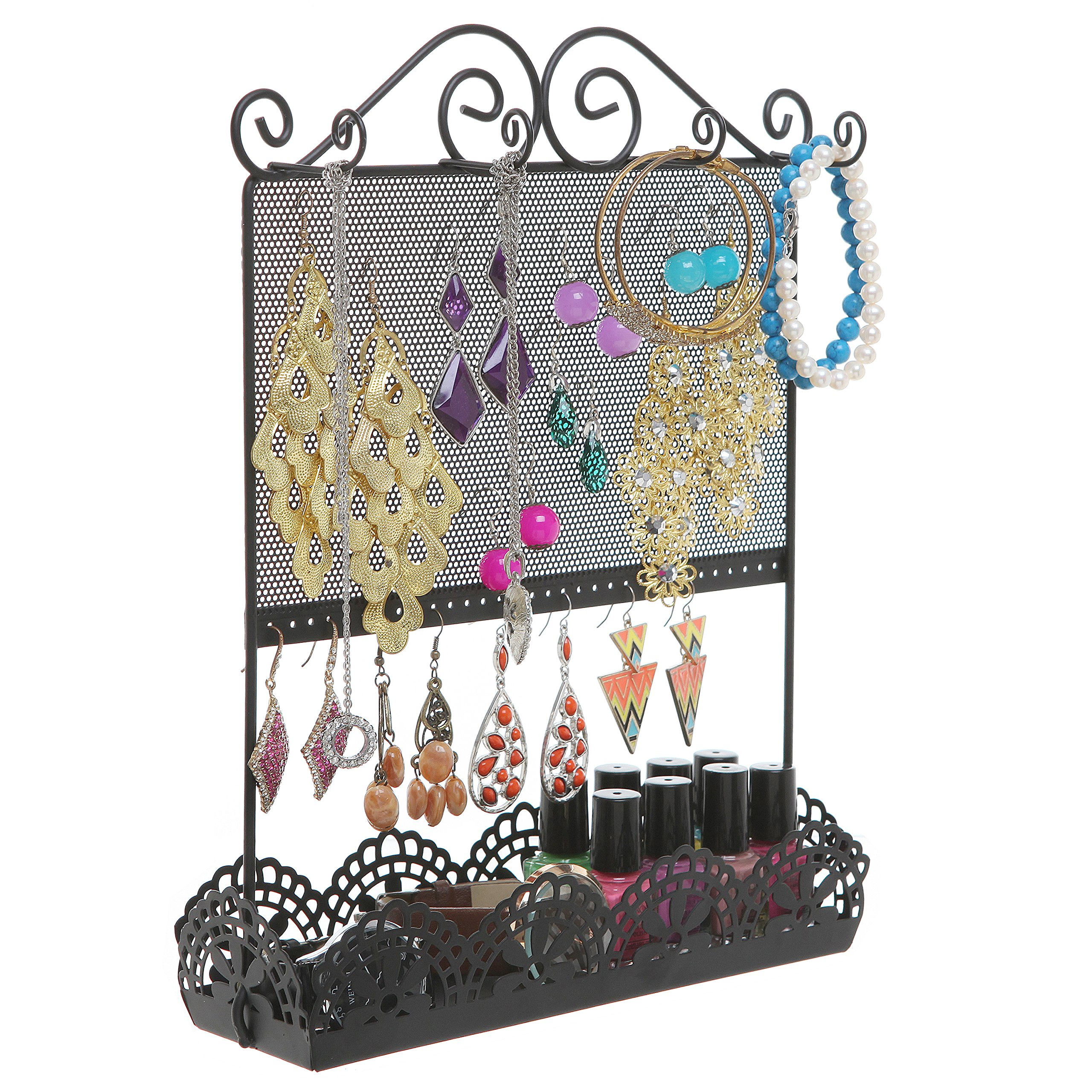 Black Metal Flower 16 pairs + Earring Holder Organizer Rack / Jewelry Makeup Storage Display Tray