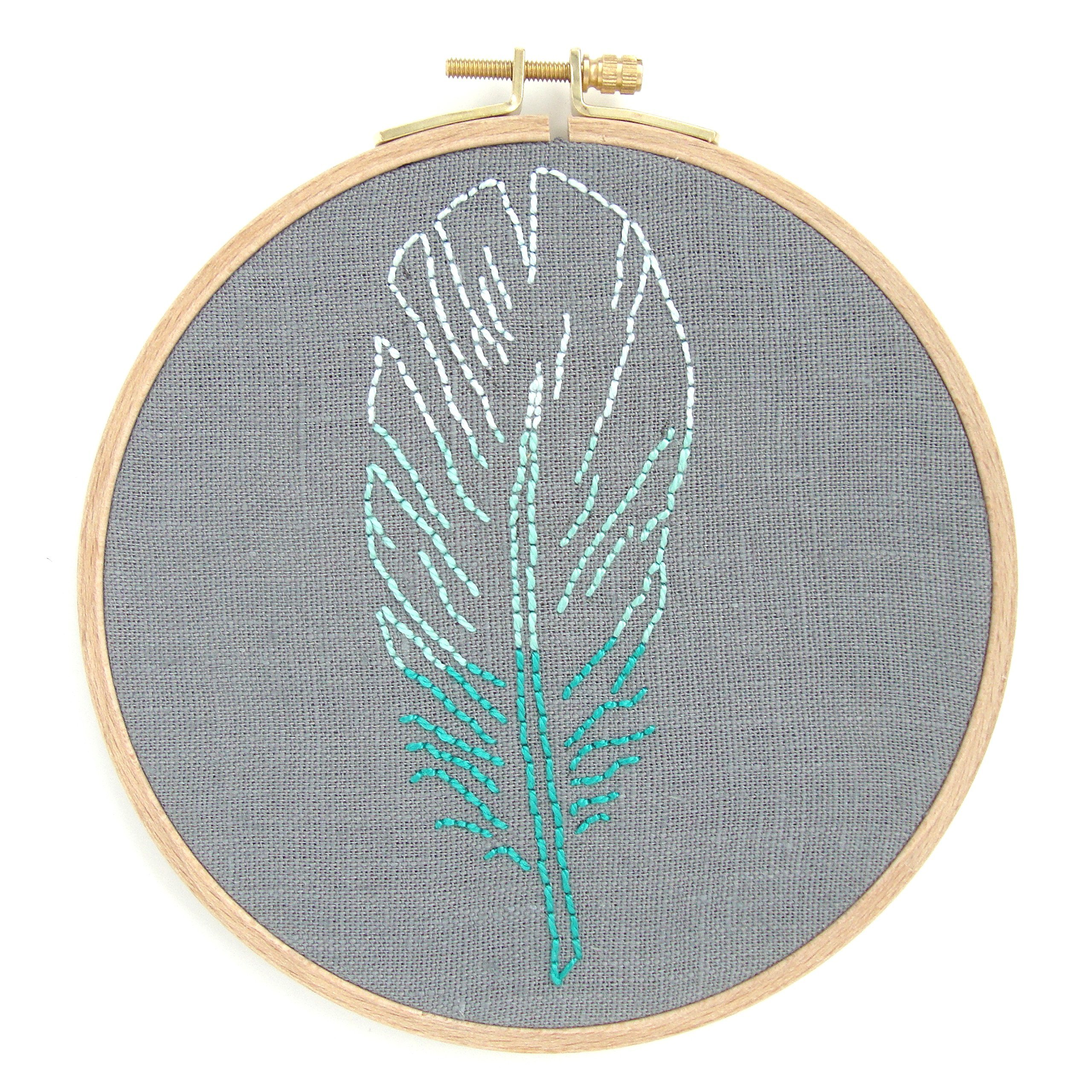 Feather Embroidery Kit (Teal Ombre)