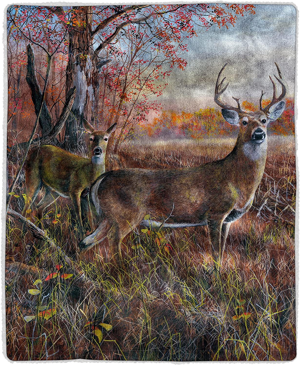 Lavish Home 64-Deer Sherpa Fleece Blanket, Print